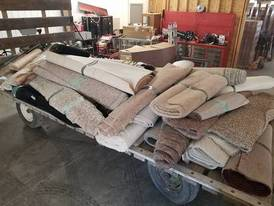 38 Rolls of Carpet and 11 Rolls Floor Linoleum of 12-16-17 Flaskerud Household, Collectible & New Overstock Items, Including Flooring.
