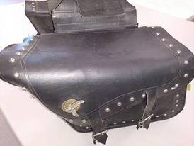 Black Leather Saddle Bags of 12-16-17 Flaskerud Household, Collectible & New Overstock Items, Including Flooring.